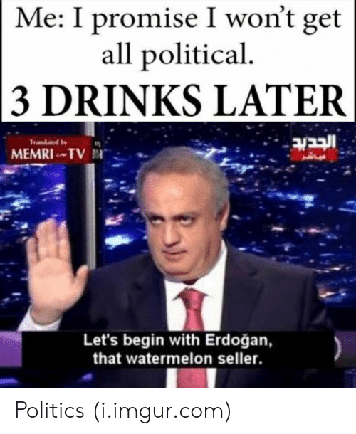 Politics, Imgur, and Com: Me: I promise I won't get  all political  3 DRINKS LATER  Let's begin with Erdoğan,  that watermelon seller Politics (i.imgur.com)