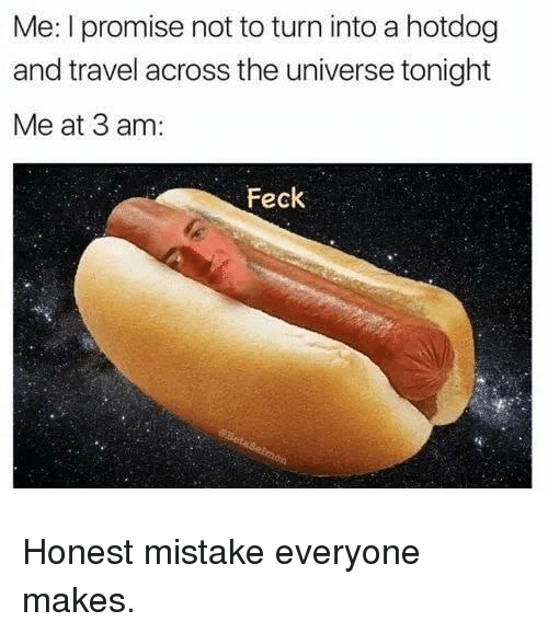 Reddit, Travel, and Universe: Me: I promise not to turn into a hotdog  and travel across the universe tonight  Me at 3 am:  Feck