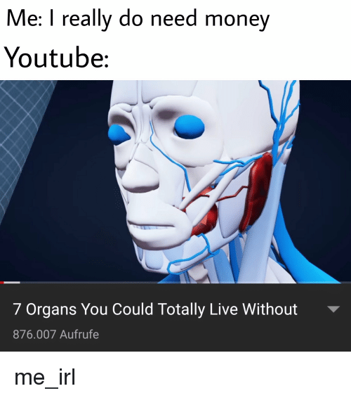 Me I Really Do Need Money Youtube 7 Organs You Could Totally