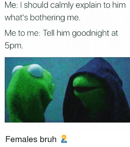 Bruh, Memes, and 🤖: Me: I should calmly explain to him  what's bothering me.  Me to me: Tell him goodnight at  5pm Females bruh 🤦‍♂️