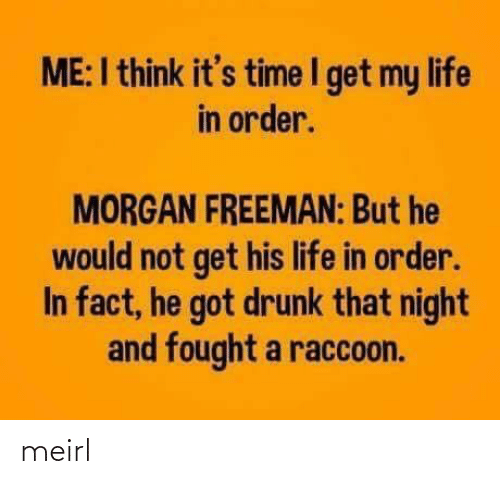 Drunk, Life, and Morgan Freeman: ME:I think it's time I get my life  in order.  MORGAN FREEMAN: But he  would not get his life in order.  In fact, he got drunk that night  and fought a raccoon. meirl
