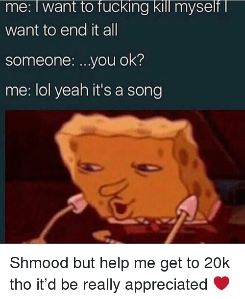 Fucking, Lol, and Memes: me: I want to fucking kill myself  want to end it all  someone: ...you ok?  me: lol yeah it's a song Shmood but help me get to 20k tho it'd be really appreciated ❤️