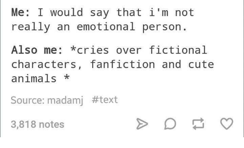 Image result for crying over fictional characters