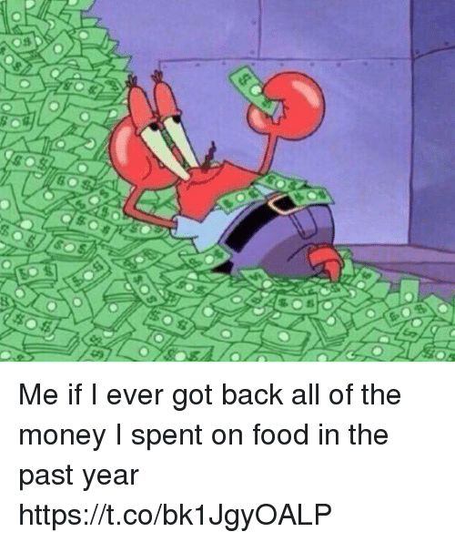 Food, Money, and Girl Memes: Me if I ever got back all of the money I spent on food in the past year https://t.co/bk1JgyOALP
