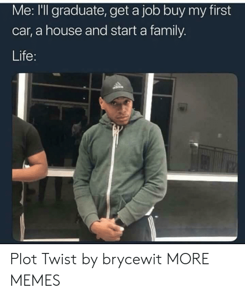 Dank, Family, and Life: Me: I'll graduate, get a job buy my first  car, a house and start a family.  Life: Plot Twist by brycewit MORE MEMES