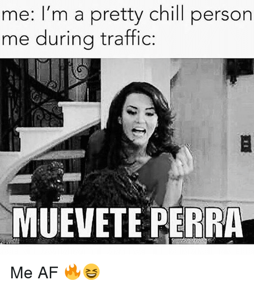 Af, Chill, and Memes: me: I'm a pretty chill person  me during traffic:  MUEVETE PERRA Me AF 🔥😆