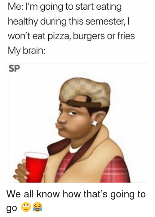 Pizza, Brain, and How: Me: I'm going to start eating  healthy during this semester,I  won't eat pizza, burgers or fries  My brain:  SP We all know how that's going to go 🙄😂