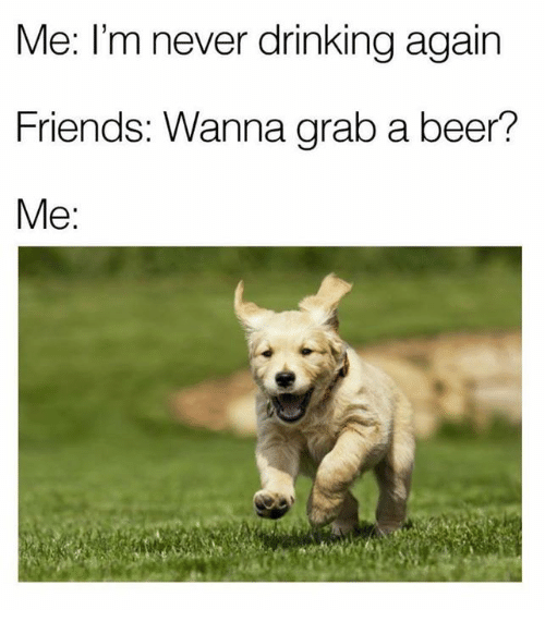 Memes, 🤖, and Grab: Me: I'm never drinking again  Friends: Wanna grab a beer?  Me