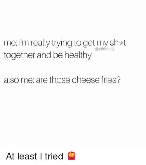 Memes, 🤖, and Cheese: me: im really trying toget my sh*t  @elite daily  together and be healthy  also me, are those cheese fries? At least I tried 🍟