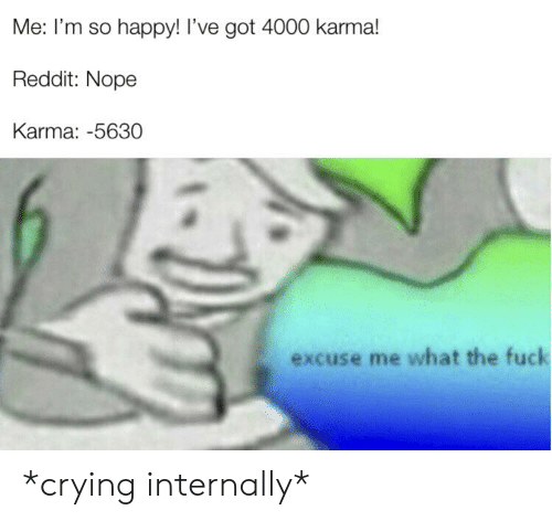 Crying, Reddit, and Fuck: Me: I'm so happy! I've got 4000 karma!  Reddit: Nope  Karma: -5630  excuse me what the fuck *crying internally*