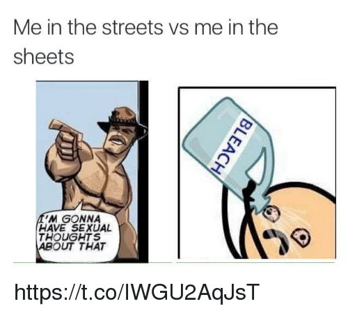 Streets, The Streets, and Gonna: Me in the streets vs me in the  sheets  M GONNA  HAVE SEXUAL  THOUGHTS  ABOUT THAT https://t.co/IWGU2AqJsT