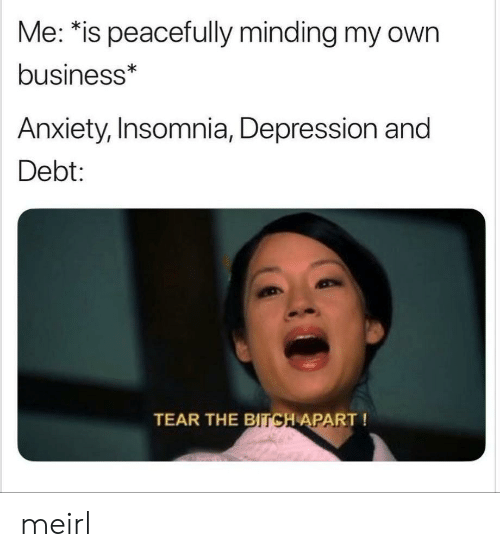 Bitch, Anxiety, and Business: Me: *is peacefully minding my own  business*  Anxiety, Insomnia, Depression and  Debt:  TEAR THE  BITCH APART! meirl