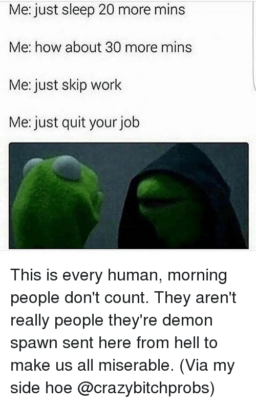 Hoe, Work, and Girl Memes: Me: just sleep 20 more mins  Me: how about 30 more mins  Me: just skip work  Me: just quit your job This is every human, morning people don't count. They aren't really people they're demon spawn sent here from hell to make us all miserable. (Via my side hoe @crazybitchprobs)