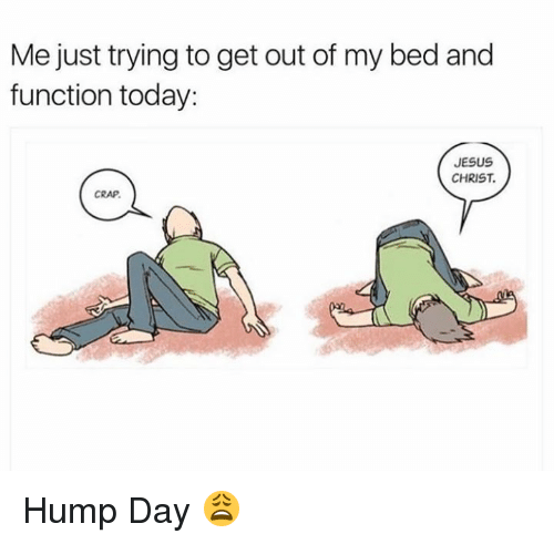 Dank, Hump Day, and Jesus: Me just trying to get out of my bed and  function today:  JESUS  CHRIST  CRAP Hump Day 😩