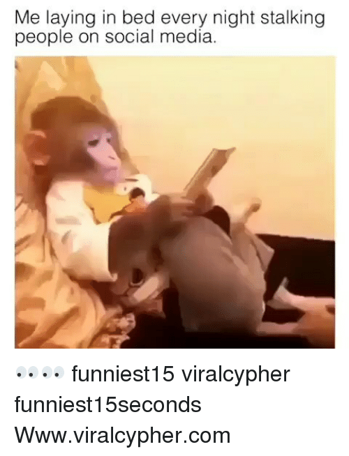 Funny, Social Media, and Stalking: Me laying in bed every night stalking  people on social media 👀👀 funniest15 viralcypher funniest15seconds Www.viralcypher.com