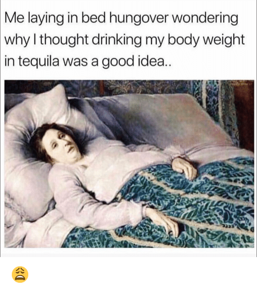 Drinking, Funny, and Good: Me  laying in bed hungover wondering  why l thought drinking my body weight  in  tequila was a good idea 😩