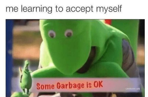 Garbage, Accept, and Myself: me learning to accept myself  Some Garbage is OK