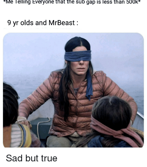 True, Sad, and Gap: *Me lelling Everyone that the sub gap is less than 500k*  9 yr olds and MrBeast: