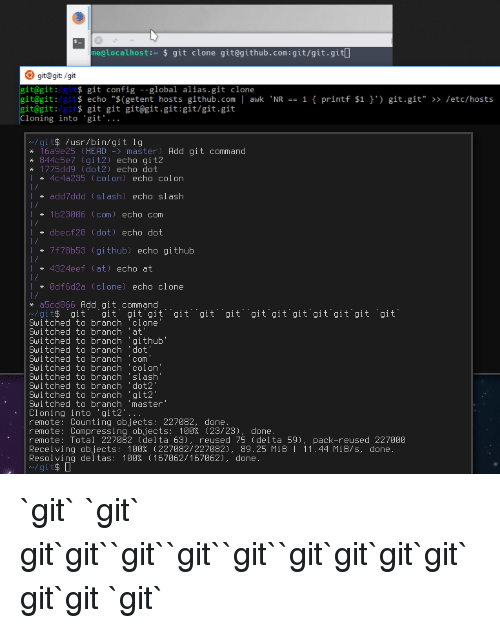 "Anaconda, Head, and Slash: me@localhosti $ git clone git@github.com:git/git.gitl  git@git:/git  it@git:/git$ git config global alias.git clone  it@git:/gits echo ""$(getent hosts github.com awk NR 1 printf $1  it@git:/gits git git git@git.git:git/git.git  loning into 'git'..  git.git"" >> letc/hosts  /git$ /usr/bin/git 1g  * 16a9e25 (HEAD -master) Add git command  844c5e7 〔git2) echo git2  I775dd9 〔dot2) echo dot  4c4a235 〔colon) echo colon  add7ddd 〔slash) echo slash  1b23806 (com) echo com  dbecf28 〔dot) echo dot  7f78b53 〔github) echo github  4324eef (at) echo at  0df6d2a 〔clone) echo clone  * a5cd866Add git command  v/gi 、git、..git、git、git、、git、、git、、git、、git、git、git、git、git、git  、git.  Switched to branch 'clone  Switched to branch 'at  Switched to branch 'github""  Sui tched to branch dot  Switched to branch 'com  i tched to branch  Suitched to branch 'colon  Swi tched to branch 'slash  Switched to branch 'dot2  Switched to branch 'git2  Switched to branch 'master  Cloning into 'git2  remote: Counting objects: 227082, done  remote: Compressing objects: 100% 〔23/23), done  remote: Total 227082 〔delta 63), reused 75 〔delta 59), pack-reused 227000  Receiving objects: 100% 〔227082/227082), 89.25 MiB 