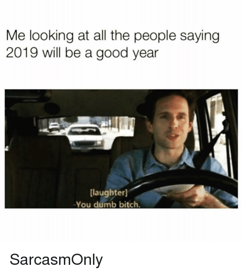 Bitch, Dumb, and Funny: Me looking at all the people saying  2019 will be a good year  [laughter]  -You dumb bitch. SarcasmOnly