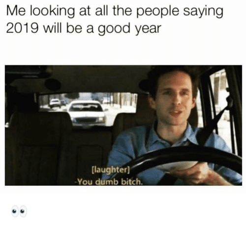 Bitch, Dumb, and Funny: Me looking at all the people saying  2019 will be a good year  [laughter]  -You dumb bitch. 👀