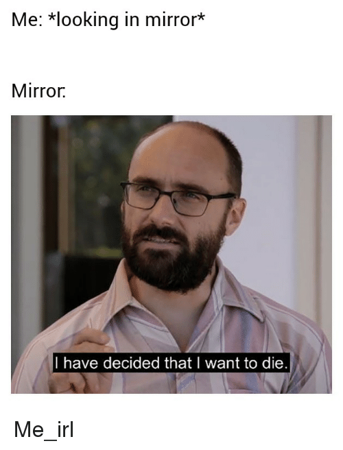 """Mirror, Irl, and Me IRL: Me: """"looking in mirror*  Mirror.  I have decided thatl want to die"""