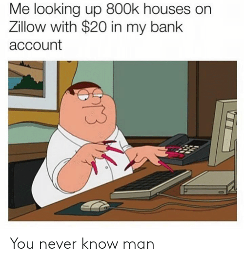 Dank, Bank, and Never: Me looking up 800k houses on  Zillow with $20 in my bank  account You never know man