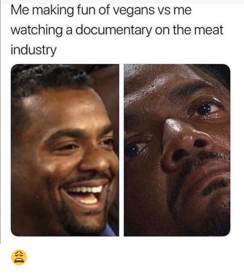 Funny, Fun, and Meat: Me making fun of vegans vs me  watching a documentary on the meat  industry 😩