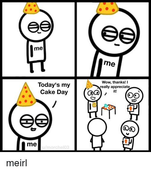 Wow, Appreciate, and Cake: me  me  Today's my  Cake Day  Wow, thanks! I  really appreciate  it!  me meirl