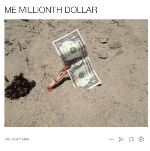 Dank, 🤖, and  Dollars: ME MILLIONTH DOLLAR  205,854 notes