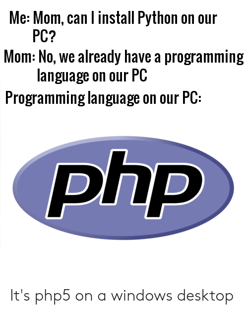 Me Mom Can L Install Python on Our PC? Mom No We Already
