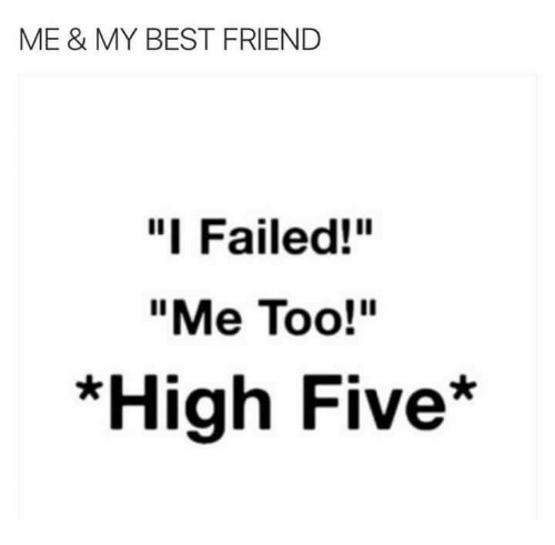 "Best Friend, Memes, and Best: ME & MY BEST FRIEND  ""I Failed!""  ""Me Too!""  *High Five*"