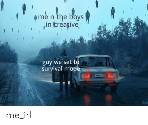 Irl, Me IRL, and Boys: me n the boys  in creative  guy we set to  survival mode  SKo me_irl