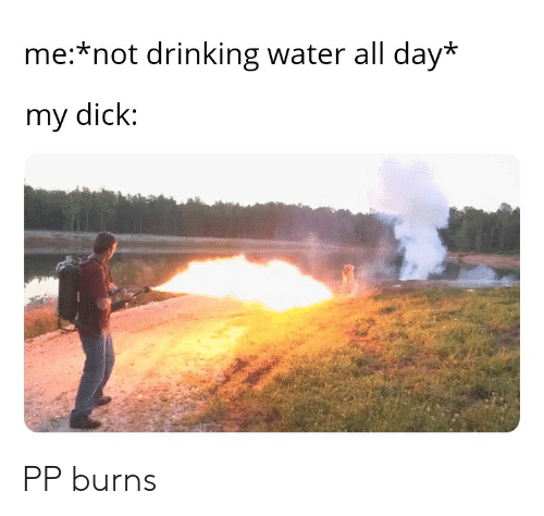 Drinking, Dick, and Water: me:*not drinking water all day*  my dick: PP burns