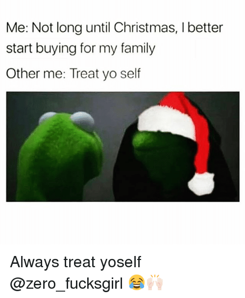 Christmas, Family, and Funny: Me: Not long until Christmas, I better  start buying for my family  Other me: Treat yo self Always treat yoself @zero_fucksgirl 😂🙌🏻