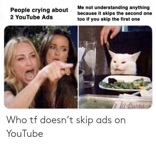 Crying, youtube.com, and Understanding: Me not understanding anything  because it skips the second one  too if you skip the first one  People crying about  2 YouTube Ads Who tf doesn't skip ads on YouTube