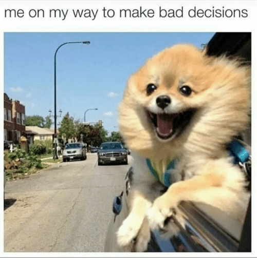 Bad, Decisions, and On My Way: me on my way to make bad decisions