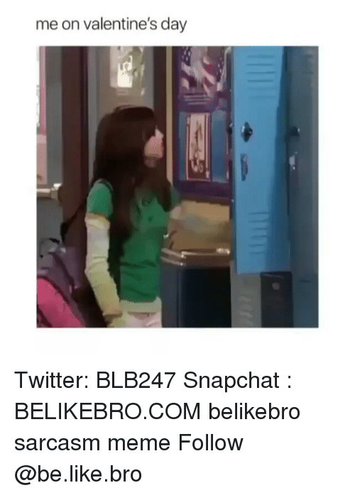 Be Like, Meme, and Memes: me on valentine's day Twitter: BLB247 Snapchat : BELIKEBRO.COM belikebro sarcasm meme Follow @be.like.bro