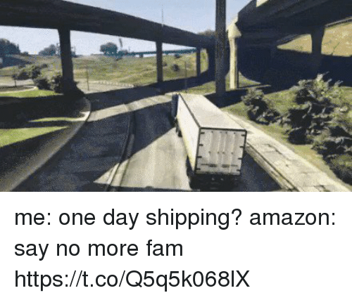 Amazon, Fam, and Funny: me: one day shipping?  amazon: say no more fam https://t.co/Q5q5k068lX