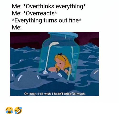 Memes, 🤖, and Fine: Me: *Overthinks everything*  Me: *Overreacts*  *Everything turns out fine*  Me:  Oh dear, I do wish I hadn't cried so much. 😂🤣