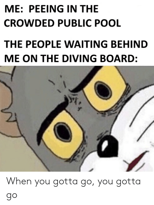 Reddit, Pool, and Waiting...: ME: PEEING IN THE  CROWDED PUBLIC POOL  THE PEOPLE WAITING BEHIND  ME ON THE DIVING BOARD: When you gotta go, you gotta go