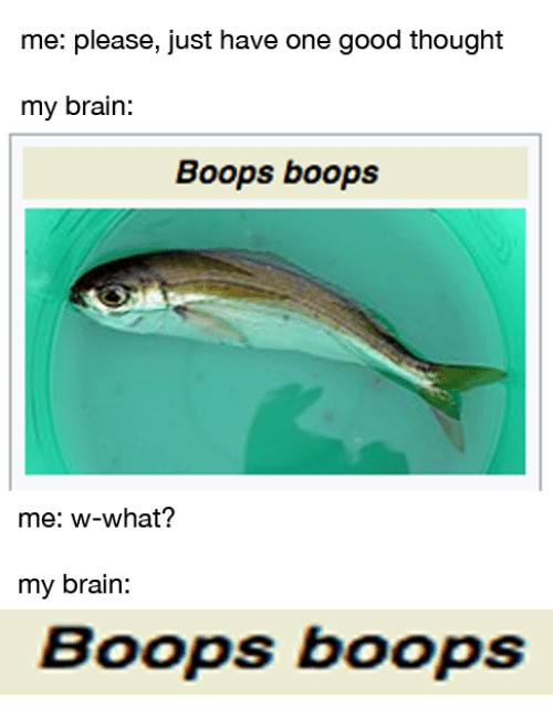 Brain, Good, and Thought: me: please, just have one good thought  my brain:  Boops boops  me: w-what?  my brain:  Boops boops