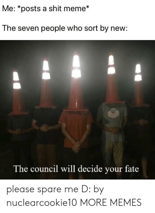 Dank, Meme, and Memes: Me: *posts a shit meme*  The seven people who sort by new:  The council will decide your fate please spare me D: by nuclearcookie10 MORE MEMES
