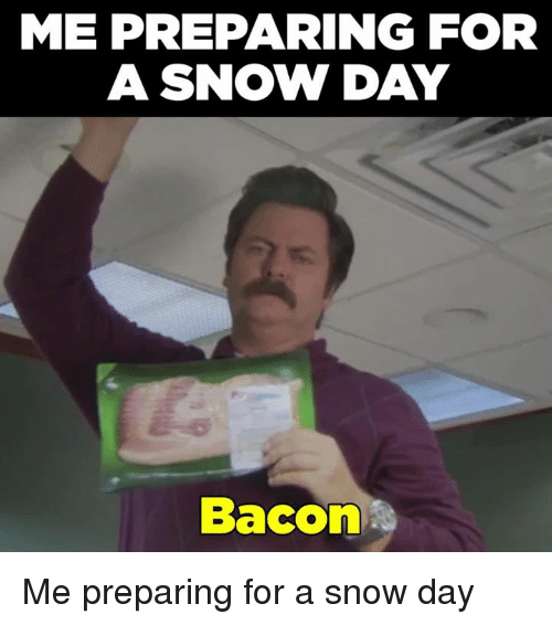 Memes, 🤖, and  Snowing: ME PREPARING FOR  A SNOW DAY  Bacon Me preparing for a snow day