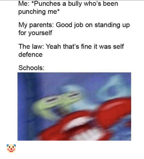 Parents, Yeah, and Good: Me: *Punches a bully who's been  punching me*  My parents: Good job on standing up  for yourself  The law: Yeah that's fine it was self  defence  Schools: 🤡