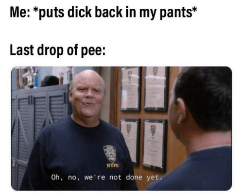 Dick, Nypd, and Back: Me: *puts dick back in my pants*  Last drop of pee:  NYPD  Oh, no, we're not done yet.