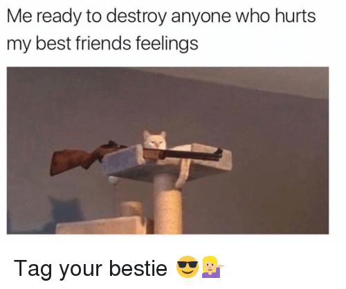 Friends, Funny, and Best: Me ready to destroy anyone who hurts  my best friends feelings Tag your bestie 😎💁🏼♀️