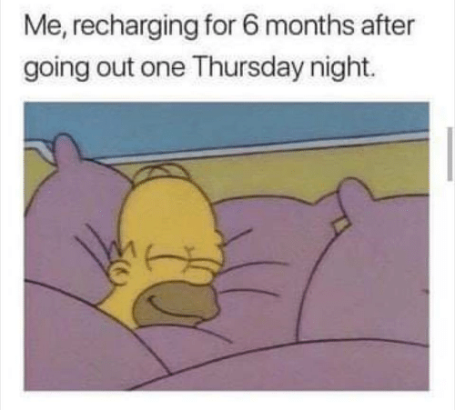 One, For, and Months: Me, recharging for 6 months after  going out one Thursday night.