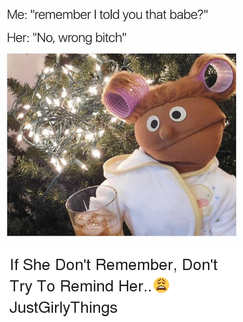 "Bitch, Dank Memes, and Justgirlythings: Me: ""remember I told you that babe?""  Her: ""No, wrong bitch"" If She Don't Remember, Don't Try To Remind Her..😩 JustGirlyThings"