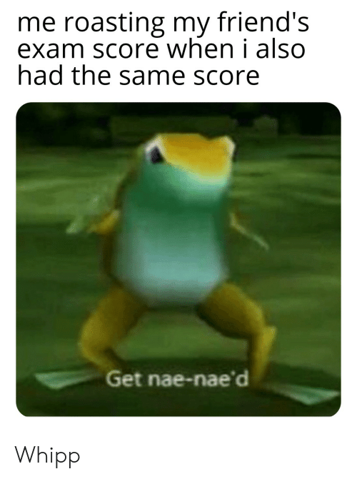Friends, Score, and Get: me roasting my friend's  exam score when i also  had the same score  Get nae-nae'd Whipp